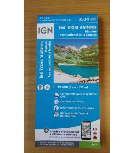 Carte IGN - 3534 OT les 3 Vallées Modane-Parc national de la Vanoise